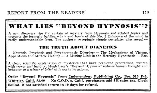 The Truth Aboput Dianetics - quote from an an advertisement for