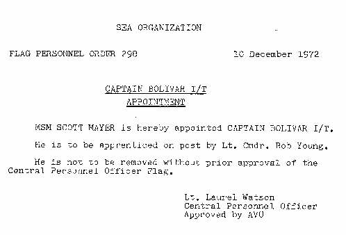 Scott MAyer's appointment at Captain of the Bolivar - Flag Personnel Order 298