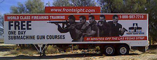 Free one day submachine gun courses - advertisement for scientologist run weapons training