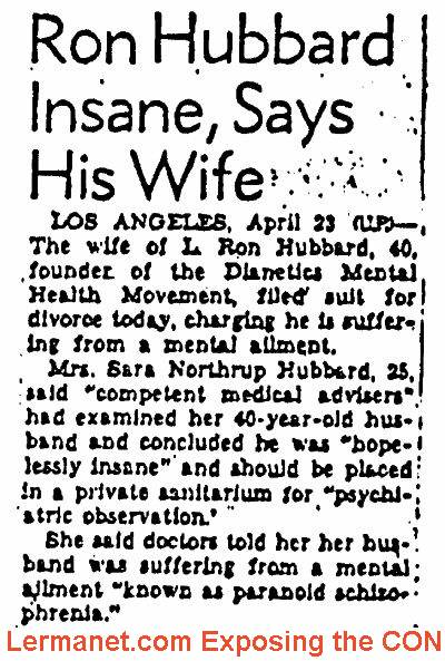 L Ron Hubbard insane says His Wife - image of newspaper clipping
