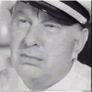 Picture of scowling L Ron Hubbard having been caught lying on videotape - BBC Secret Lives