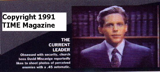 Obsessed with security, church boss David Miscavige reportedly likes to shoot photos of percieved enemies with a .45 automatic></p>     <p>Scientology is now run by <a href=