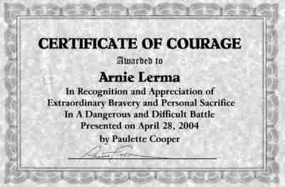 Certificate of courage awarded to Arnie Lerma by Author paulette Cooper