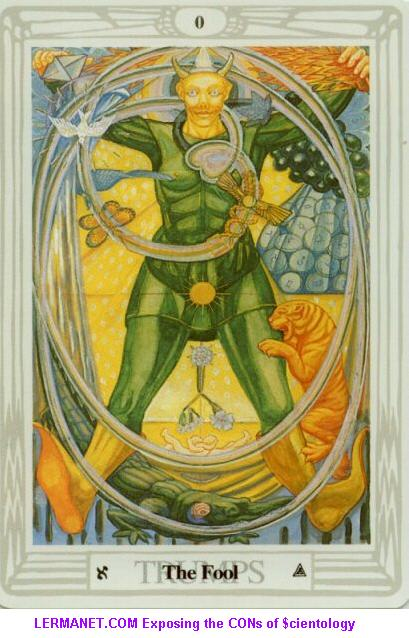 Crowley's The FOOL Tarot card, showing triangle at bottom, and double triangles in the fool's hand upper left.