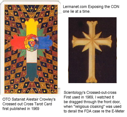 Scientology's crossed out cross Logo compared to Crowley's Cross>  <font size=