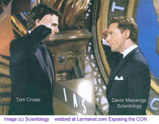 Image of Tom Cruise saluting scientology's 'leader' David Miscavige at a IAS (International Association of Scientologists) love-fest